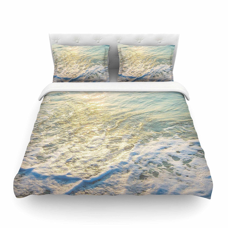 88 x 88 Kess InHouse Susan Sanders Ocean Beach Water Blue Teal Photography Queen Featherweight Duvet Cover