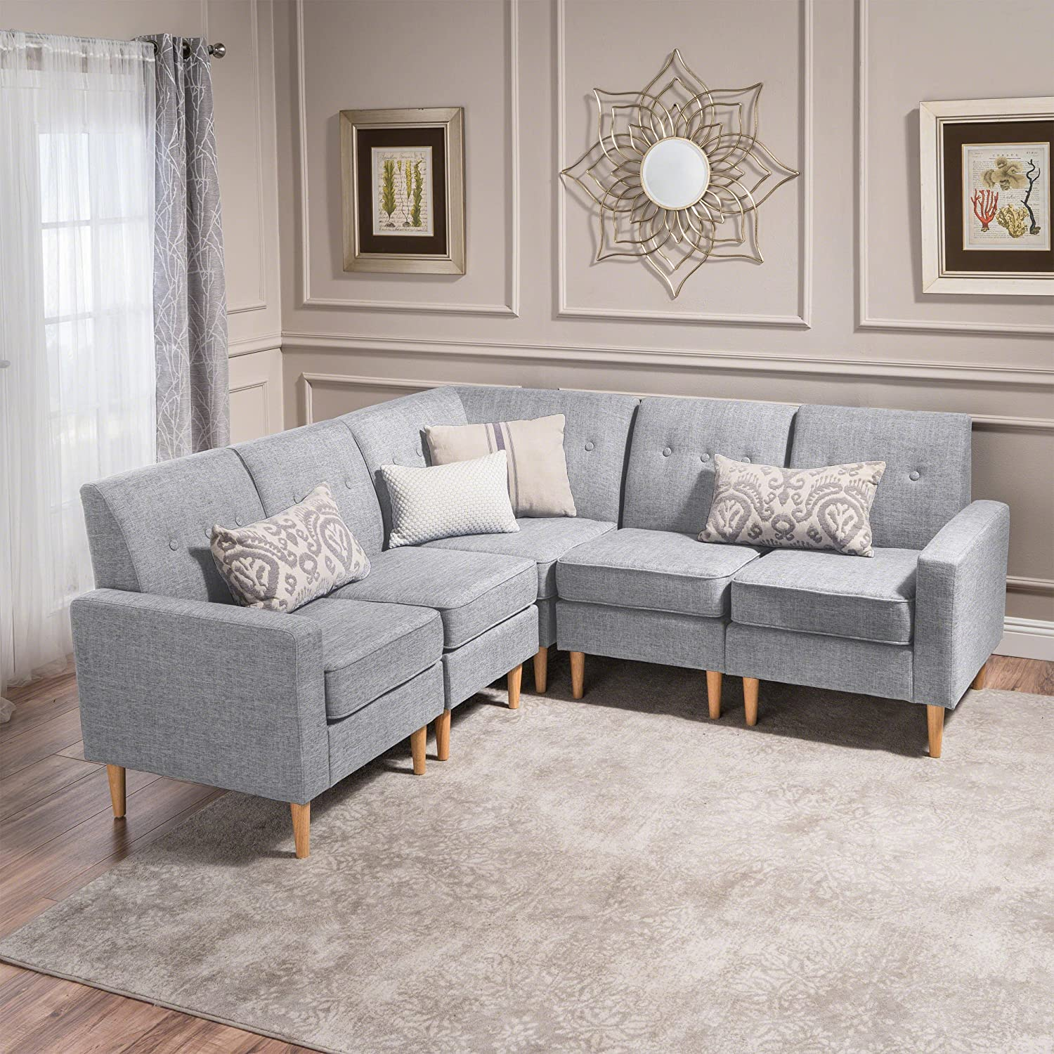 Fantastic Christopher Knight Home 5 Piece Sawyer Mid Century Modern Sectional Sofa Light Grey Tweed Natural Spiritservingveterans Wood Chair Design Ideas Spiritservingveteransorg