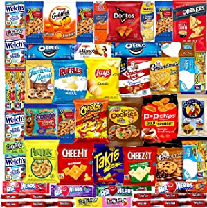 Cookies, Chips & Candies Ultimate Snacks Care Package, Easter Gift Box, Easter Snacks care package - (50 count) Bulk Variety Sampler, Chips, Cookies, Bars, Candies, Nuts Gift Box, Great For Office Meetings , Friends & Family, Military, College Students