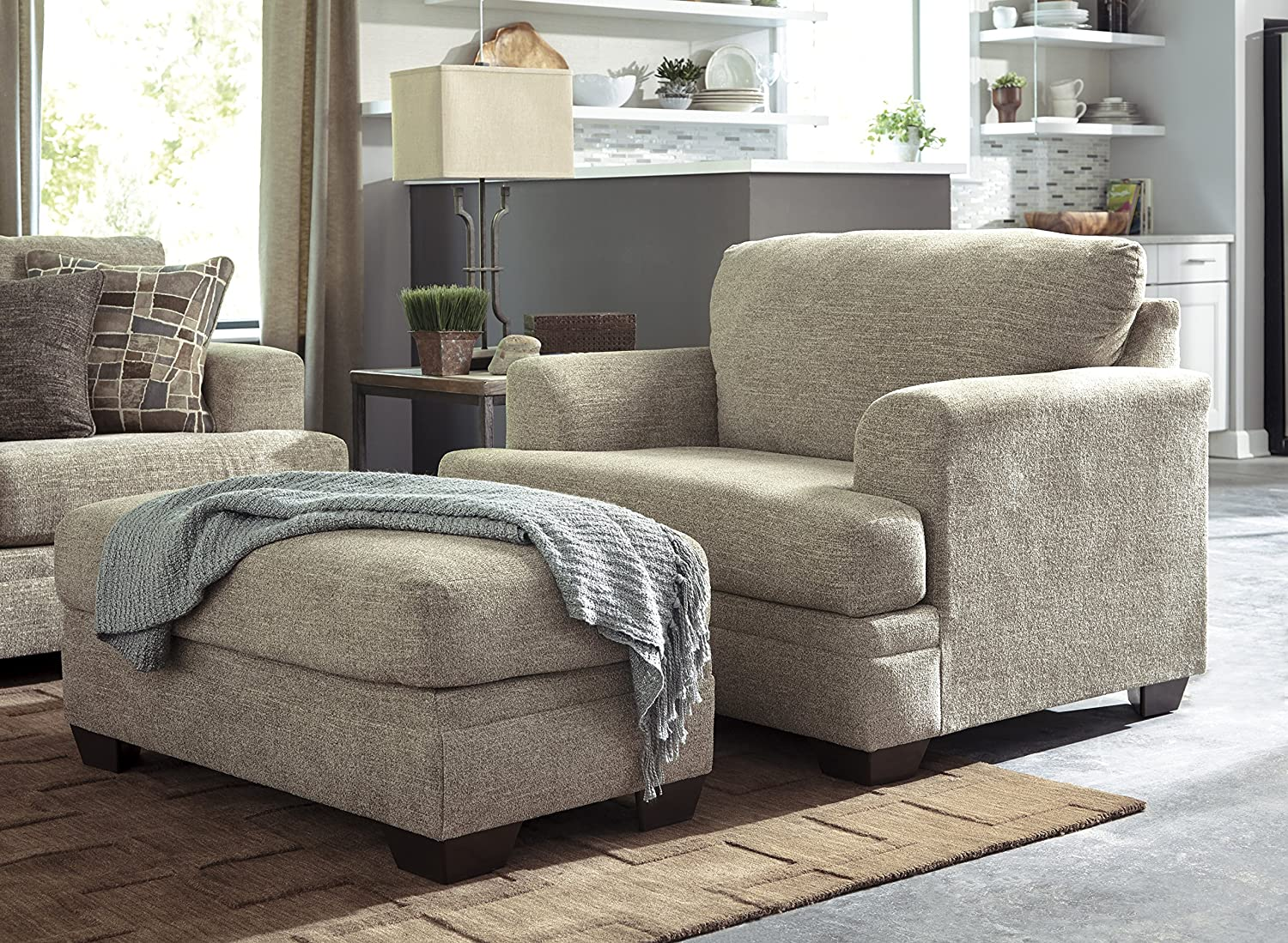 oversized chair and a half with ottoman