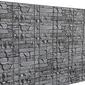 Neu Haus Zaunfolie Sichtschutzfolie Grau Steinoptik 35m Fur