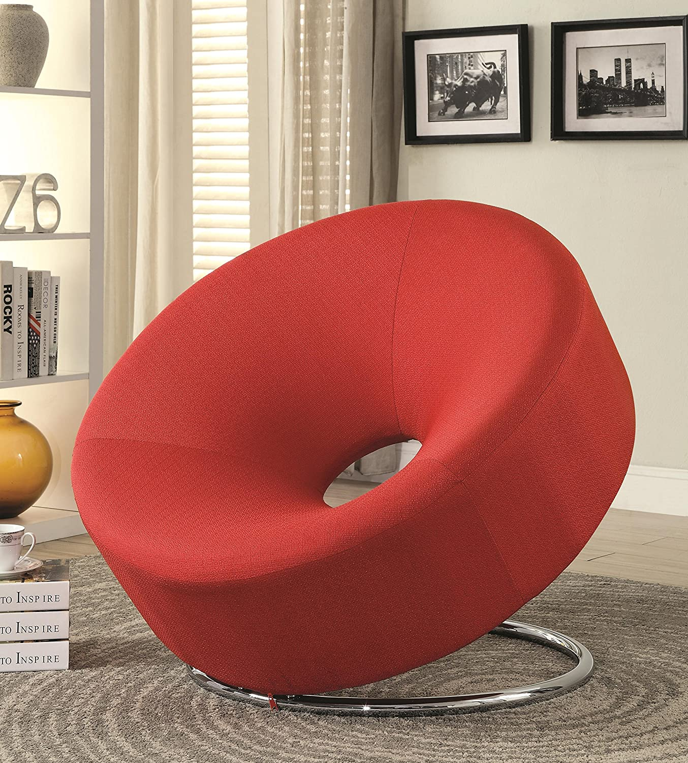 amazoncom coaster accent seating collection accent chair with donut shaped round chrome base and fabric upholstery in red kitchen u0026