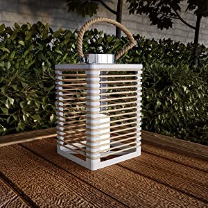 Pure Garden 50-LG1086 Solar Powered LED Outdoor/Indoor Flickering Flameless Candle Lantern Decorative Light with Rope Accents (White)
