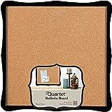 "Quartet Bulletin Board, Cork, 14"" x 14"", Home Organization, Black Frame (50722)"