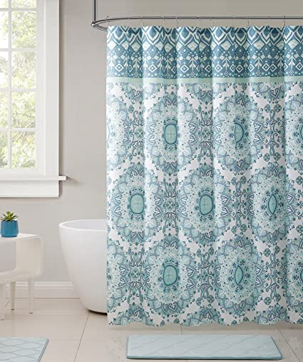 Bohemian Teal Aqua Turquoise Fabric Shower Curtain Large Mandala Print With Top Border Design