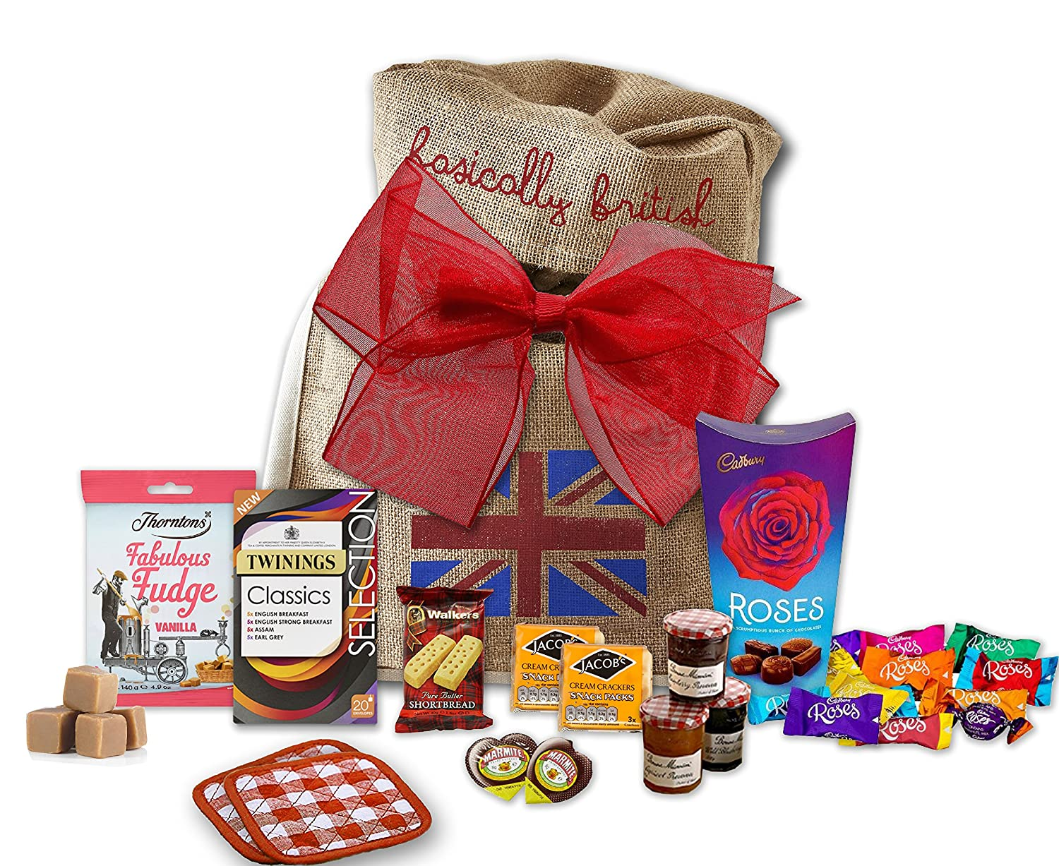 The Great British High Tea Hamper by The Yummy Palette | Birthday gift for her gift for him BritishTwinings Classic Selection 20 Tea Bags British Food Brunch Tea Gift Set in Basically British Gift Bag