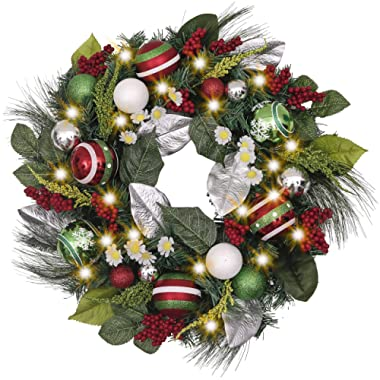 Valery Madelyn Pre-Lit 24 Inch Traditional Red Green Silver and White Christmas Wreath with Artificial Greenery Eucalypti Leaves, Ball Ornaments and Berries, Battery Operated 20 LED Lights