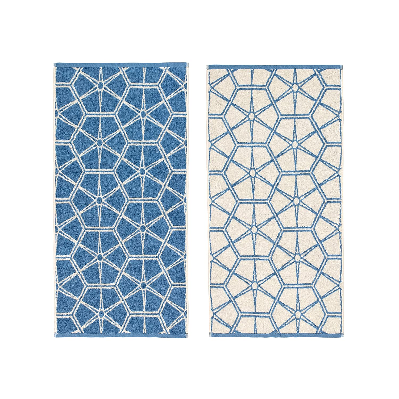 Elle Textiles & Personal Care - Guest Towels, Geo Print - Set of 2-30 x 50cm, 450gsm