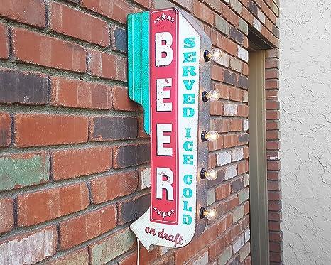 Amazon.com: Rústico Metal cerveza de doble cara Sirve Ice ...