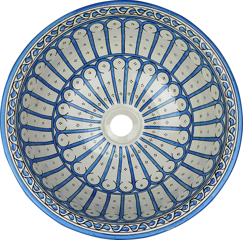 Fez // Leila di ceramica dipinta a mano marocchina il lavandino del bagno lavabo dipinta da dentro a fuori Round di camma 40 H 16 cm