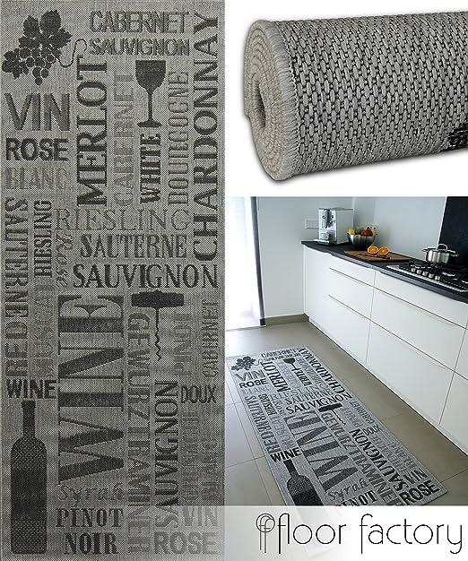 floor factory Tapis de Cuisine Pinot Grigio gris 80x200 cm - tapis de  couloir pas cher