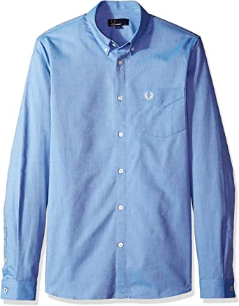Fred Perry Hombres Camisa Oxford Classic Azul Medio M: Amazon.es ...