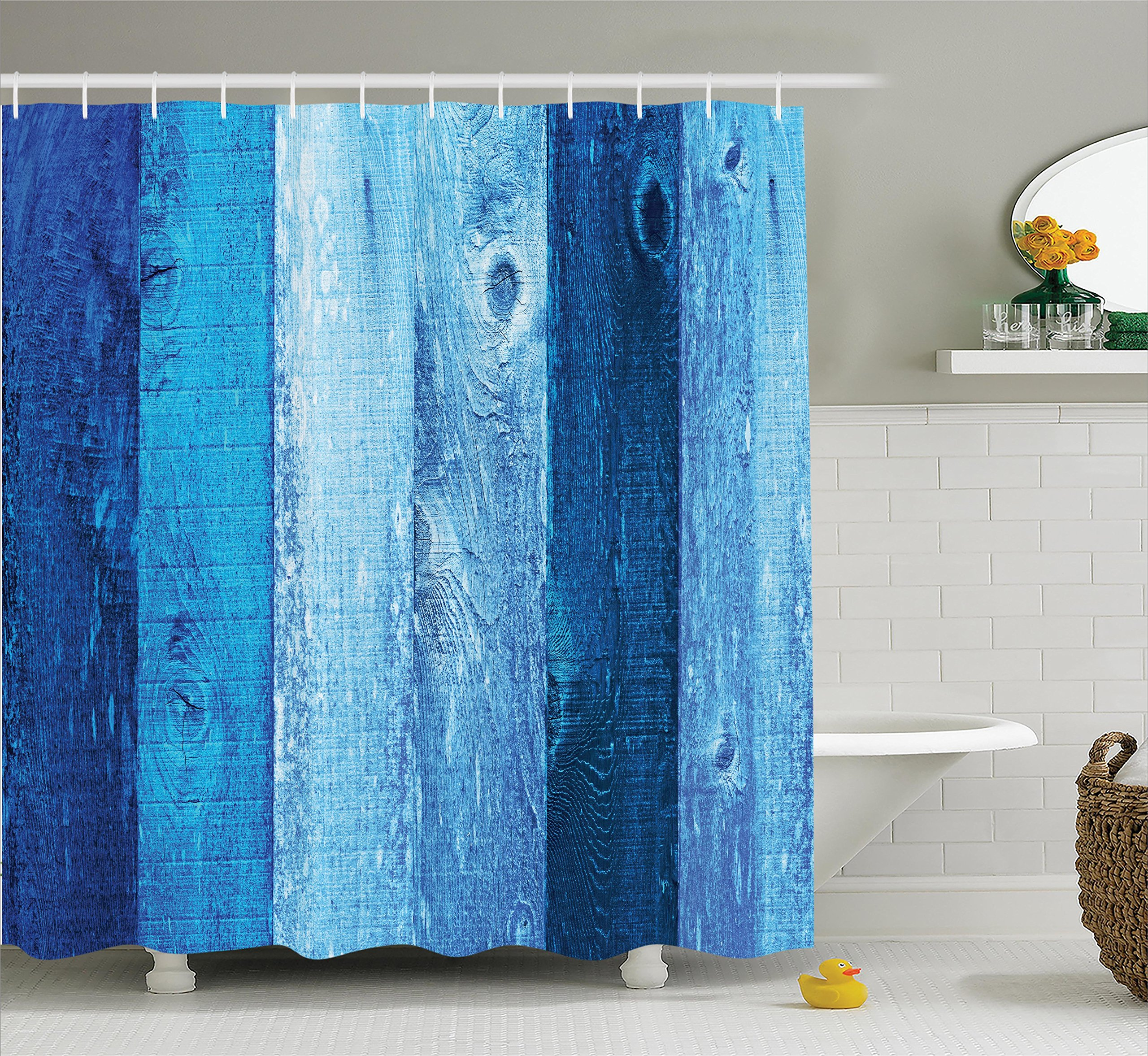 Ambesonne Navy Blue Decor Collection, Distressed Vintage Graphic of Wood in Robins Egg Old Grunge Grain Texture Retro Home, Polyester Fabric Bathroom Shower Curtain, 75 Inches Long, Dark Blue