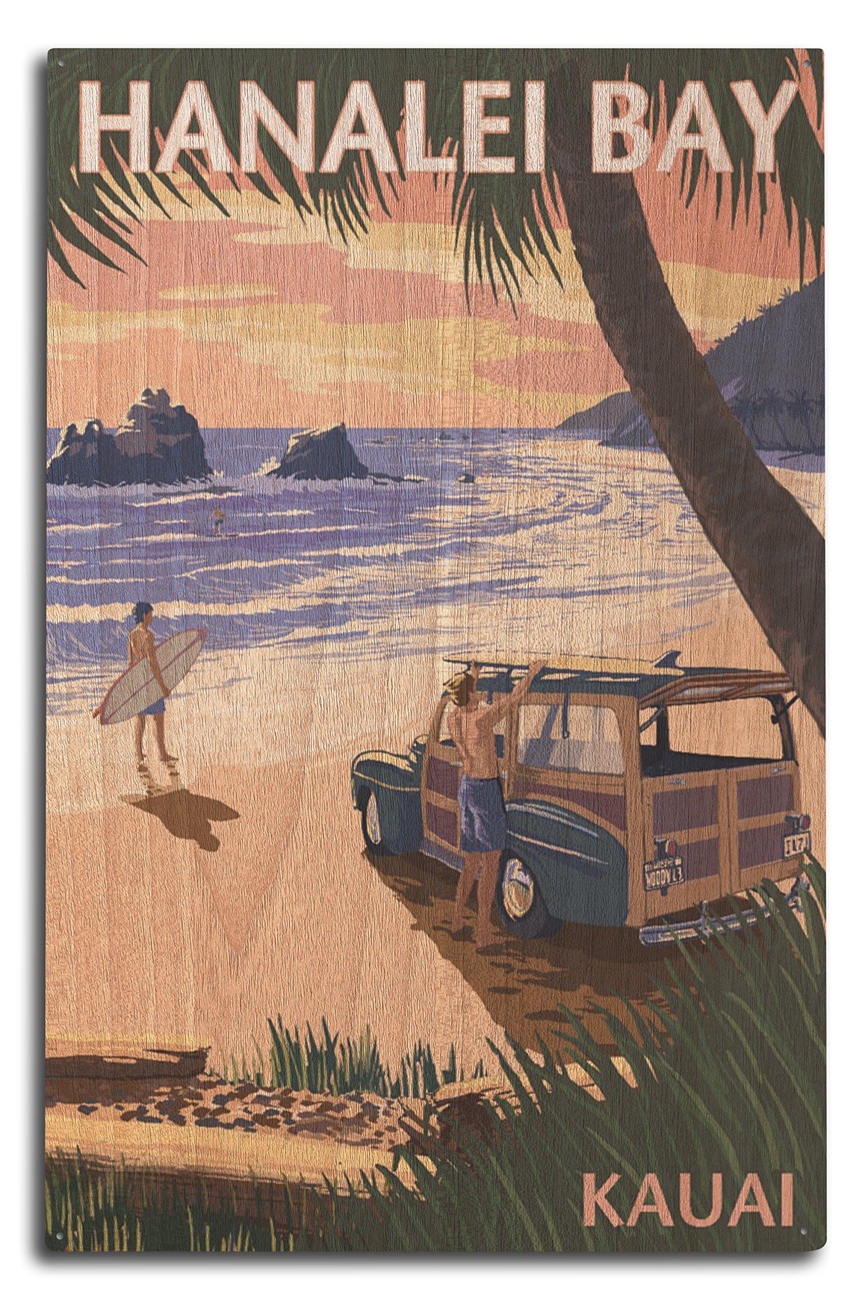 Lantern Press Hanalei Bay, Kauai, Hawaii - Woody on Beach (10x15 Wood Wall Sign, Wall Decor Ready to Hang)