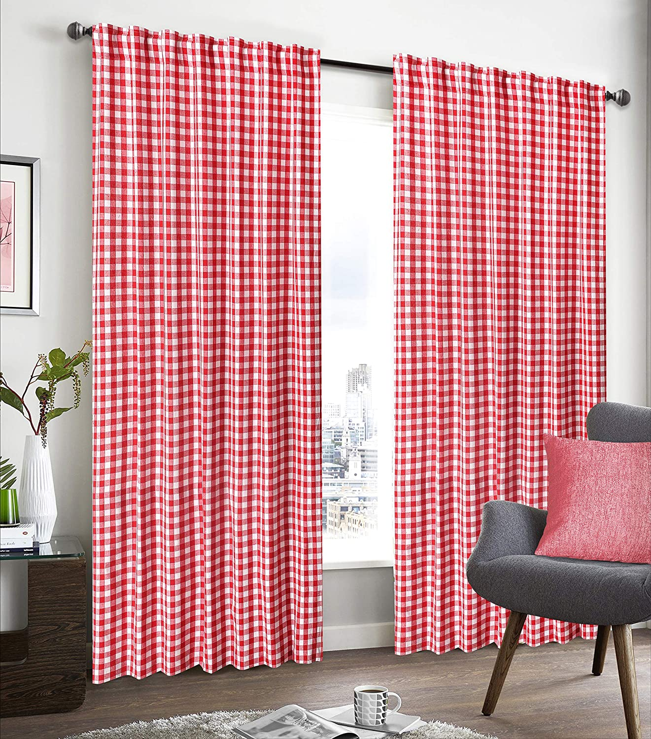 Tab Top Curtains,Farm House Curtain,Cotton Curtains,Curtain 2 Panel sets,Window Curtain Panel in Cingham Check Cotton 50x96 Red/White,Curtain Set Of 2,Reverse window panels,Curtain Drapes Panels
