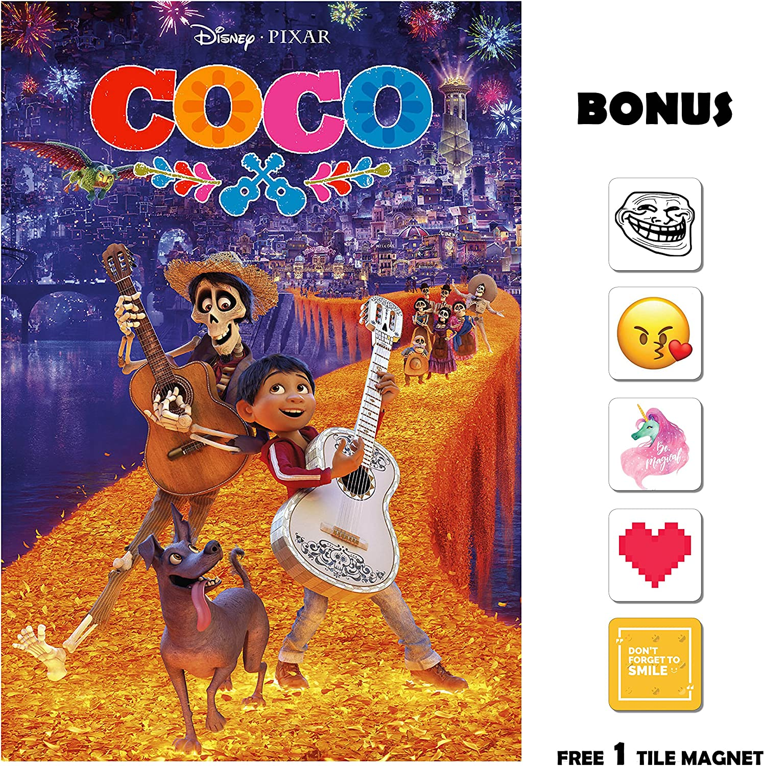 Amazon Com Movie Poster Coco 2017 Fireworks 13 In X 19 In Flyer Borderless Free 1 Tile Magnet Posters Prints
