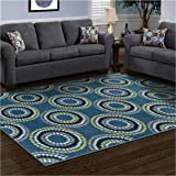 Superior Burgess Collection, 6mm Pile Height with Jute Backing, Quality and Affordable Area Rugs, 5' x 8' Blue