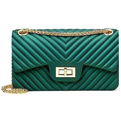 Women Fashion Shoulder Bag Jelly Clutch Handbag Quilted Crossbody Bag with  Chain - Green 3b4f1a6d38