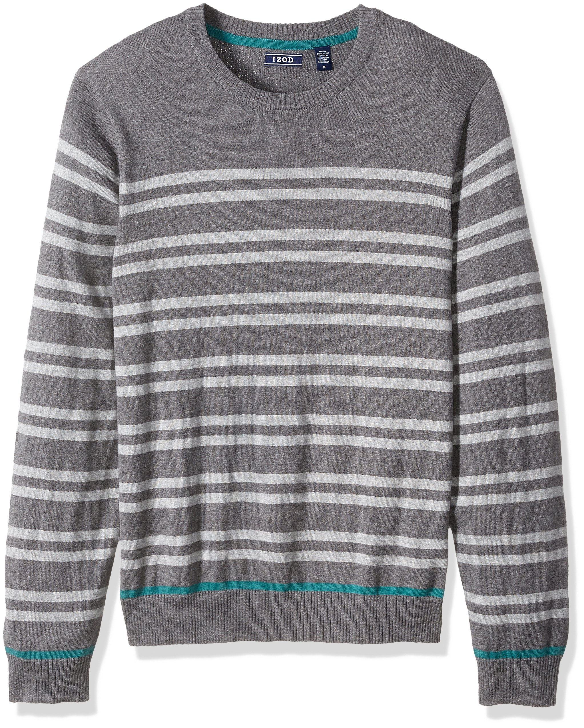 IZOD Men's Fine Gauge Crew Sweater, Carbon Heather, Large