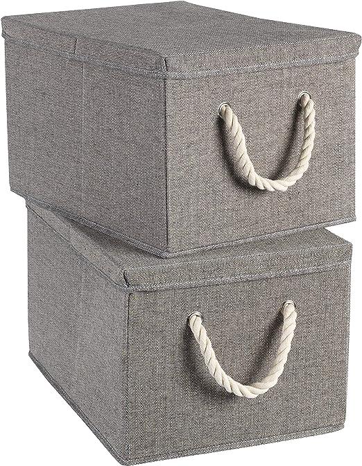 Terra Sell - Juego de 2 cajas de almacenaje con tapa, 30 x 25 x 20 ...