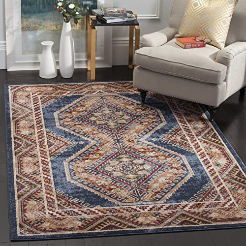 Safavieh Bijar Collection BIJ647B Traditional Oriental Vintage Royal Blue and Rust Area Rug 8 x 10