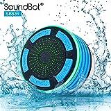 SoundBot IPX7 Waterproof 5W Bluetooth Wireless Shower Speaker with 8Hrs Playback, Built-In FM Radio Tuner, LED, Premium HD Sound, Water Weather Resistant Portable Speakerphone, SB531 (BLUE)