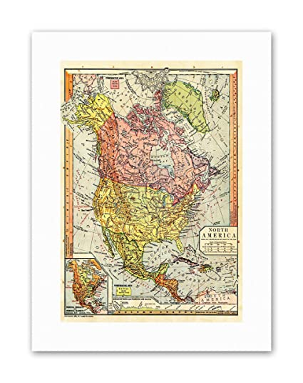 Amazon.com: Wee Blue Coo MAP Antique 1885 Continental America TIME ...