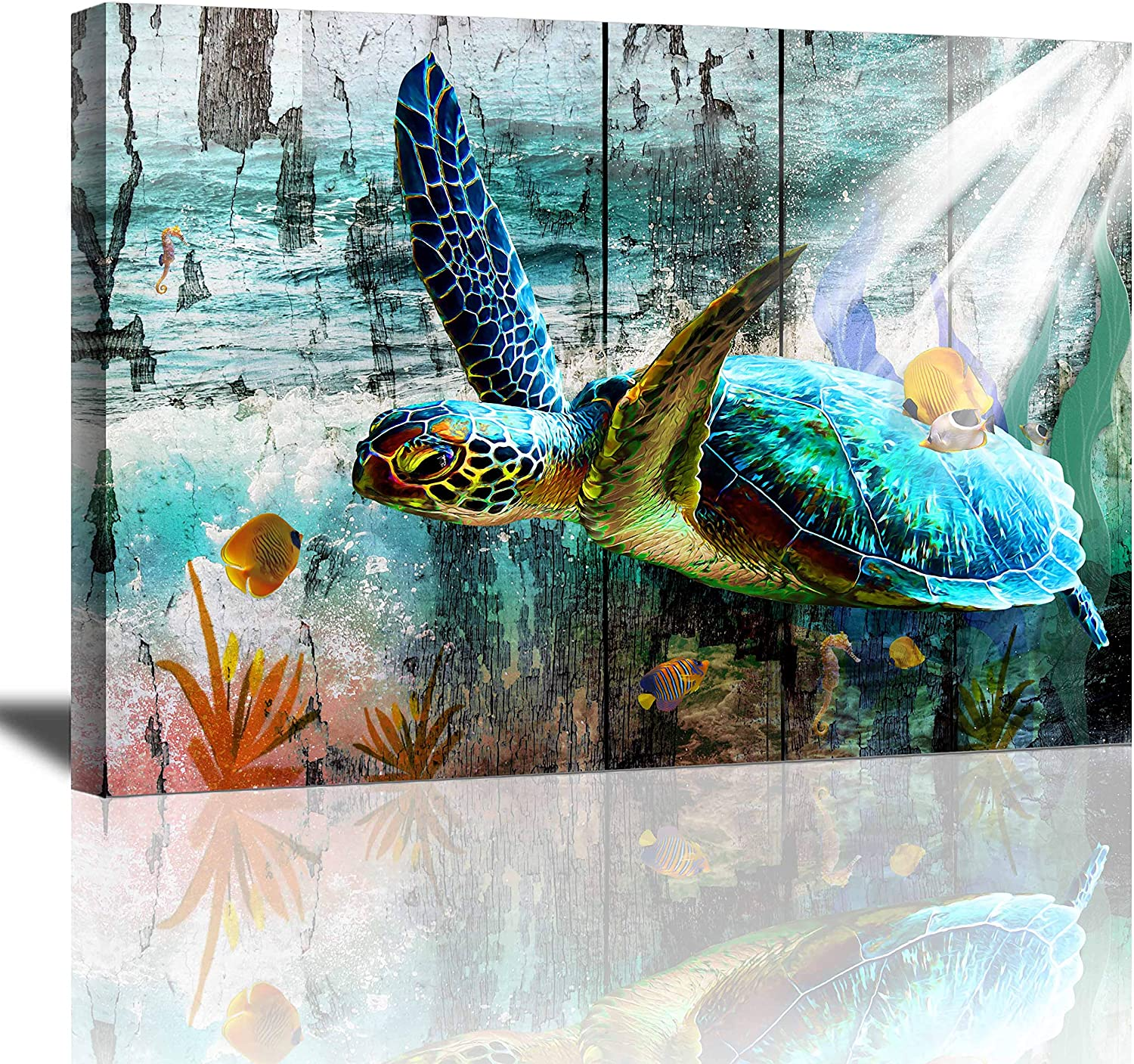 Bathroom Decor Wall Art Canvas Wall Art Sea Turtle Decor Blue Ocean Pictures Wall Art Canvas Framed Art Prints for Bedroom Living Room Wall Decoration Ready to Hang