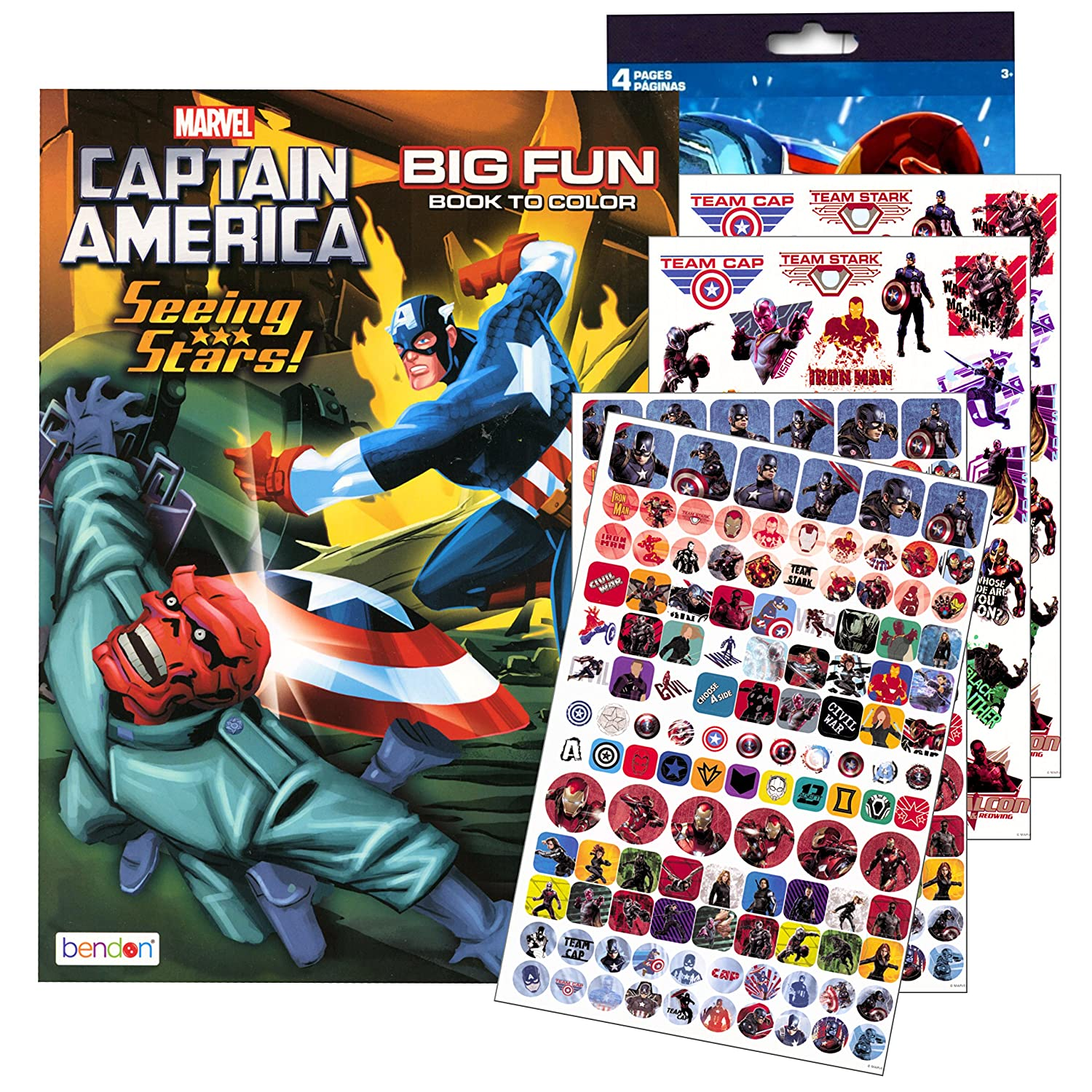 Amazon Marvel Captain America Coloring Book With Stickers Iron Man Hulk And More Toys Games