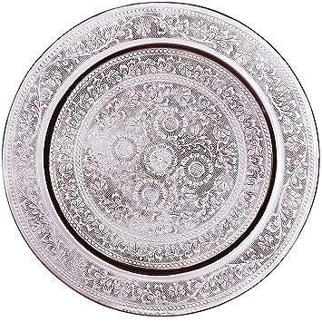 Marokkanisches Teetablett in der Farbe Gold Orientalische Dekoration auf dem gedeckten Tisch Orient Serviertablett goldfarben Orientalisches rundes Tablett aus Messing AFAF 40cm
