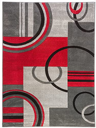 Well Woven Ruby Galaxy Waves Contemporary Runner 60010 Area Rug, 1 8 x 7 0 , Grey Red
