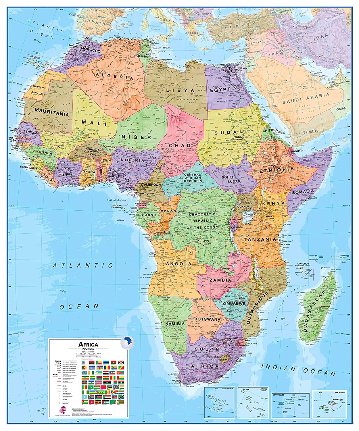 Whole Map Of The World.Maps International Large Political Africa Wall Map Laminated 39 X 47