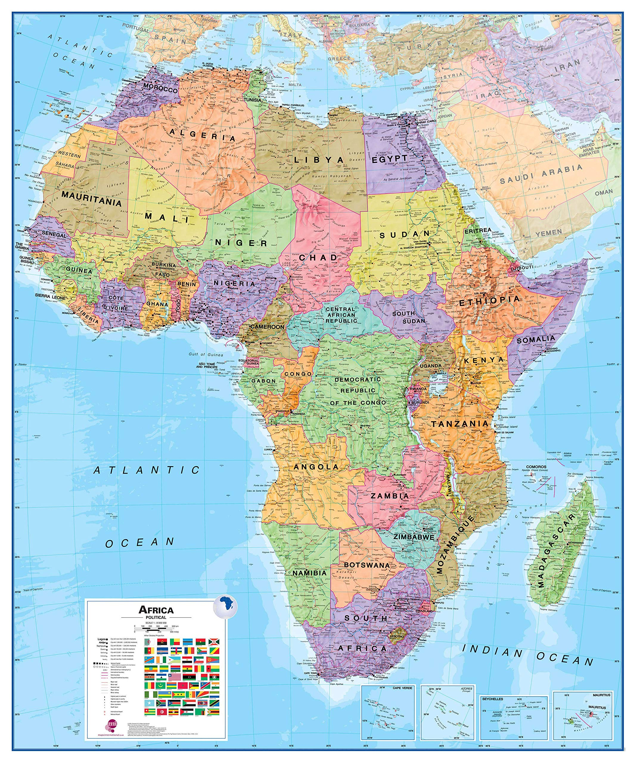 18x22 Paper Swiftmaps.com Africa Wall Map GeoPolitical Edition by Swiftmaps