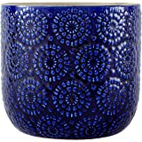 "Amazon Brand – Stone & Beam Modern Ceramic Floral Embossed Decorative Planter Flower Pot, 7.4""H, Blue"