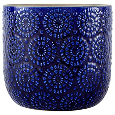 Stone & Beam Modern Stoneware Floral Embossed Planter, 7.4 H, Blue