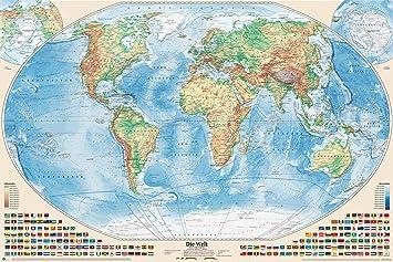 geographische weltkarte J.Bauer Karten Physische Weltkarte mit Flaggen, 150x100 cm  geographische weltkarte