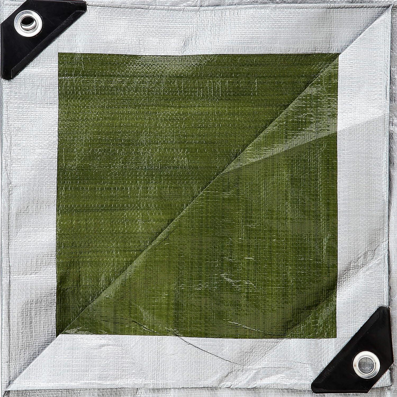 GardenMate 1,5m x 6m Telone in tessuto HOME/&GARDEN 140g//m2 Argento//Verde Telone per barche Telone di copertura Telone di protezione