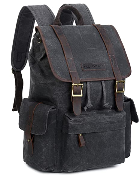 arriving check out outlet for sale Waxed Canvas and Leather Vintage Backpack College Schlool Casual Unisex  Rucksack Camping Daypack Laptop Bag By 1XD GEAR