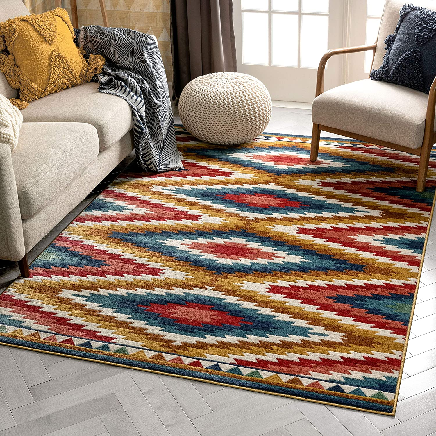 Well Woven Mia Blue Southwestern Medallion Area Rug 8x10 7 10 X 9 10 Home Kitchen