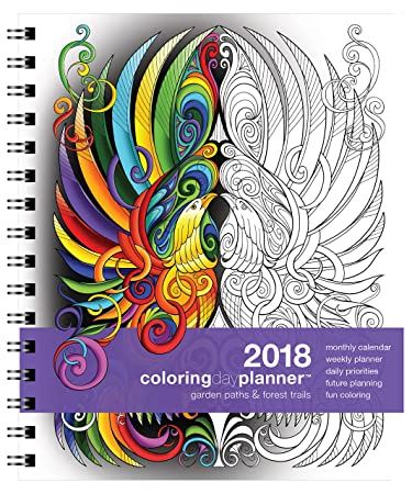 amazon com action publishing coloring day planner 2018 garden