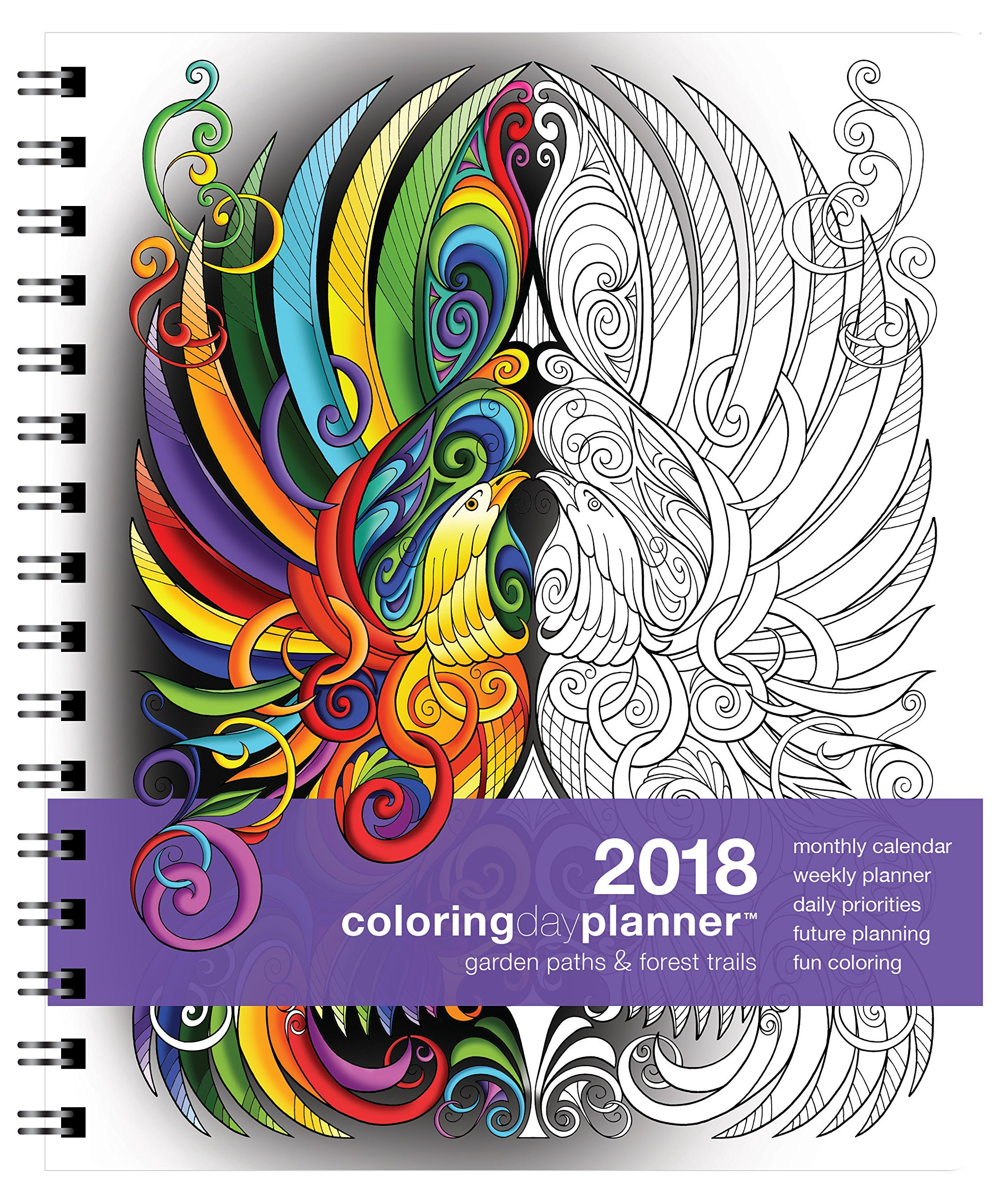 Action Publishing Coloring Day Planner · 2018 Garden Paths & Forest Trails · Daily and Weekly Scheduling and Goal Planning, with Nature and Botanical Coloring Pages · Jan - Dec (7 x 8.5 inches)