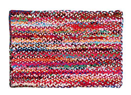 Hand Made Eco Friendly Recycled Braided Multicolor Chindi Cotton Rugs 3 x5 Rectangle Area Rugs – Boho Bohemian Area Rugs- Reversible Area Rugs- Braided Multi Chindi Cotton Area Rugs.
