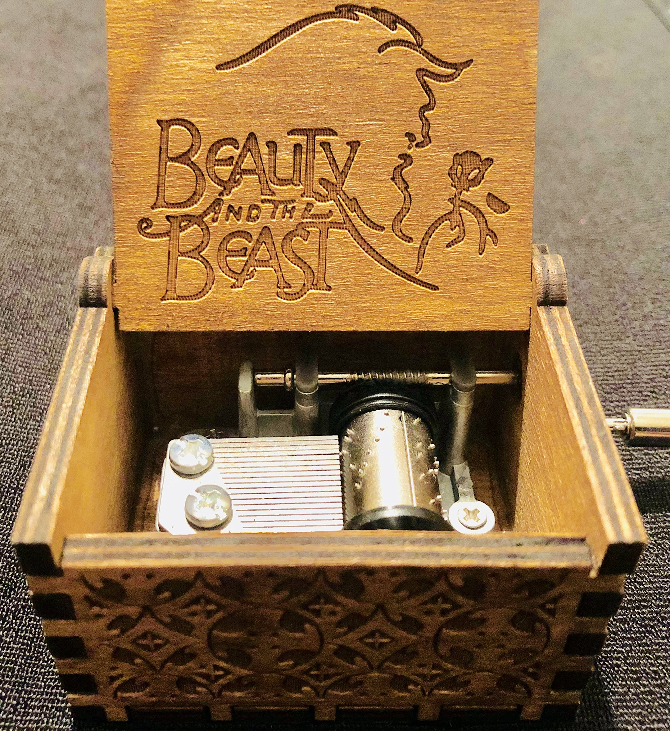 Phoenix Appeal Antique Carved Wooden Music box Hand cranked Music: Game of thrones, Harry Potter, Merry Christmas Theme Gift, (Beauty And the Beast, Wood)