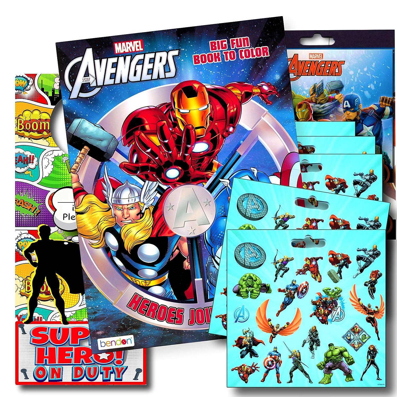 The Hulk Disney Studios Iron Man Thor Marvel Avengers Coloring Book Bundle with Avengers Stickers Plus Superhero Door Hanger ~ Captain America Black Panther and More