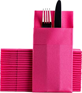 Pink Dinner Napkins Cloth Like with Built-in Flatware Pocket, Linen-Feel Absorbent Disposable Paper Hand Napkins for Kitchen, Bathroom, Parties, Weddings, Dinners or Events, 1/8 Fold, Pack of 50