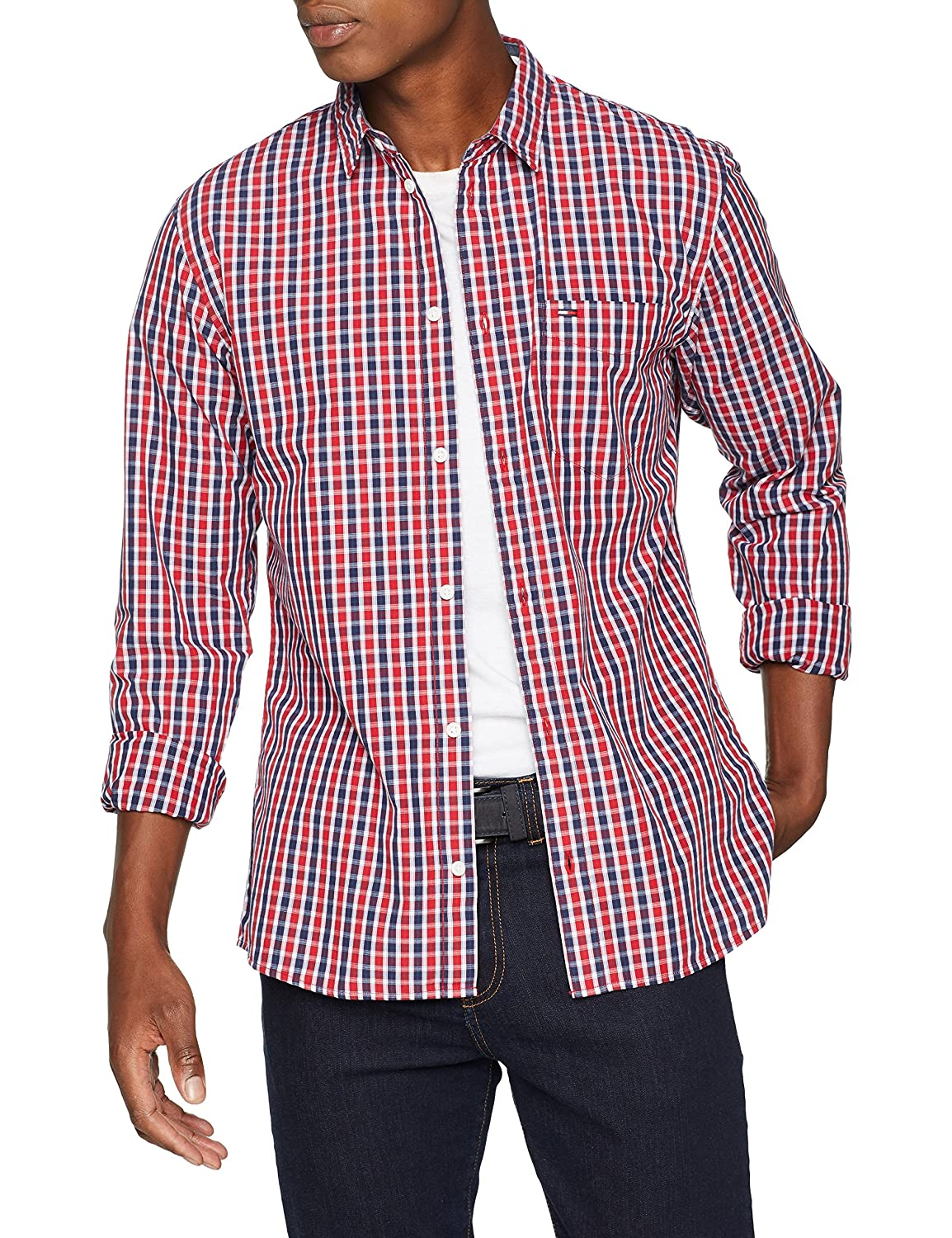 TALLA S. Tommy Jeans Hombre Essential Mini Check  Camisa Manga Larga Normal