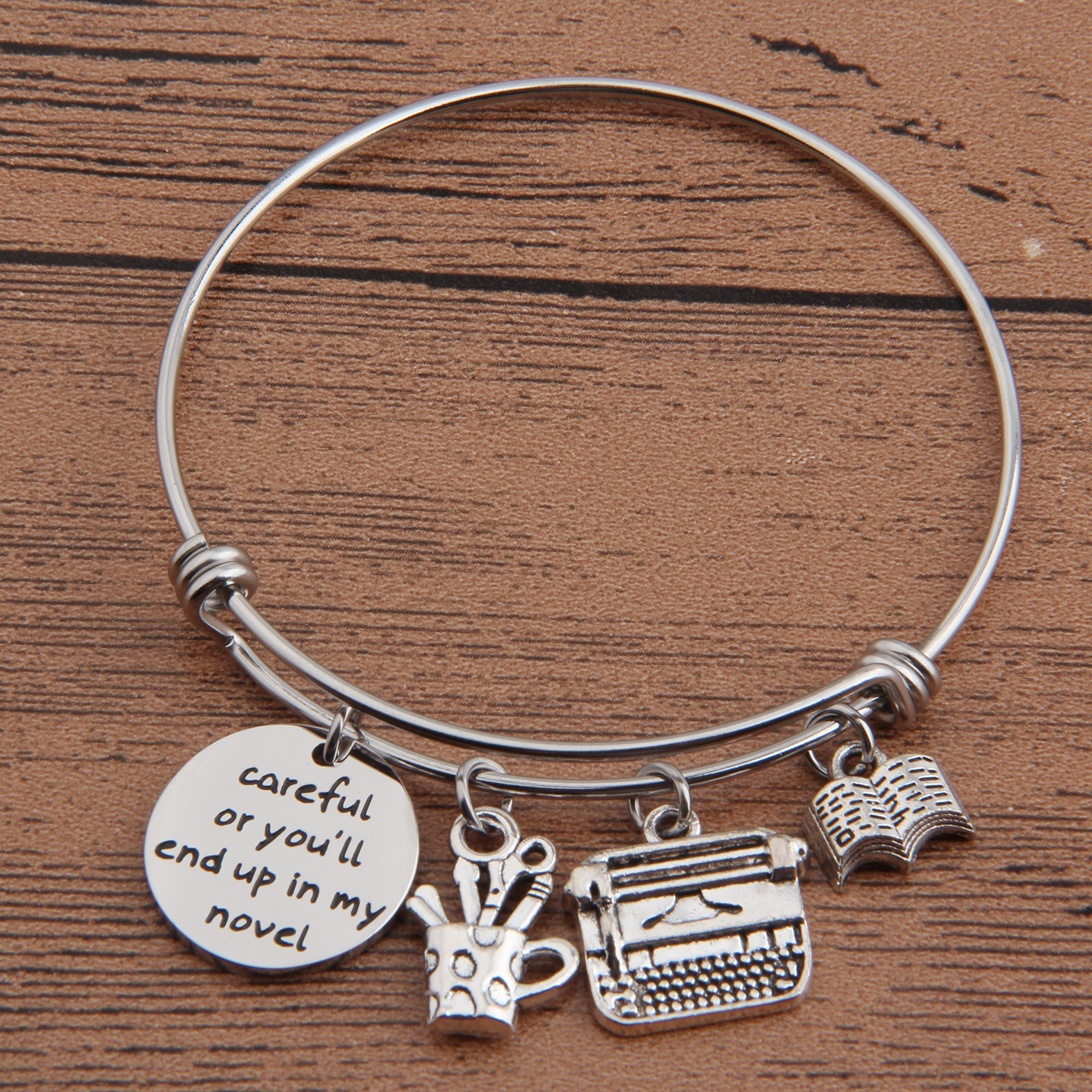 Gzrlyf Writer Bracelet Author Bracelet Writer Gift Novelist Gift Careful Or Youll End Up In My Novel Jewelry Writing Gift Author Jewelry (Writer bracelet) by Gzrlyf (Image #5)