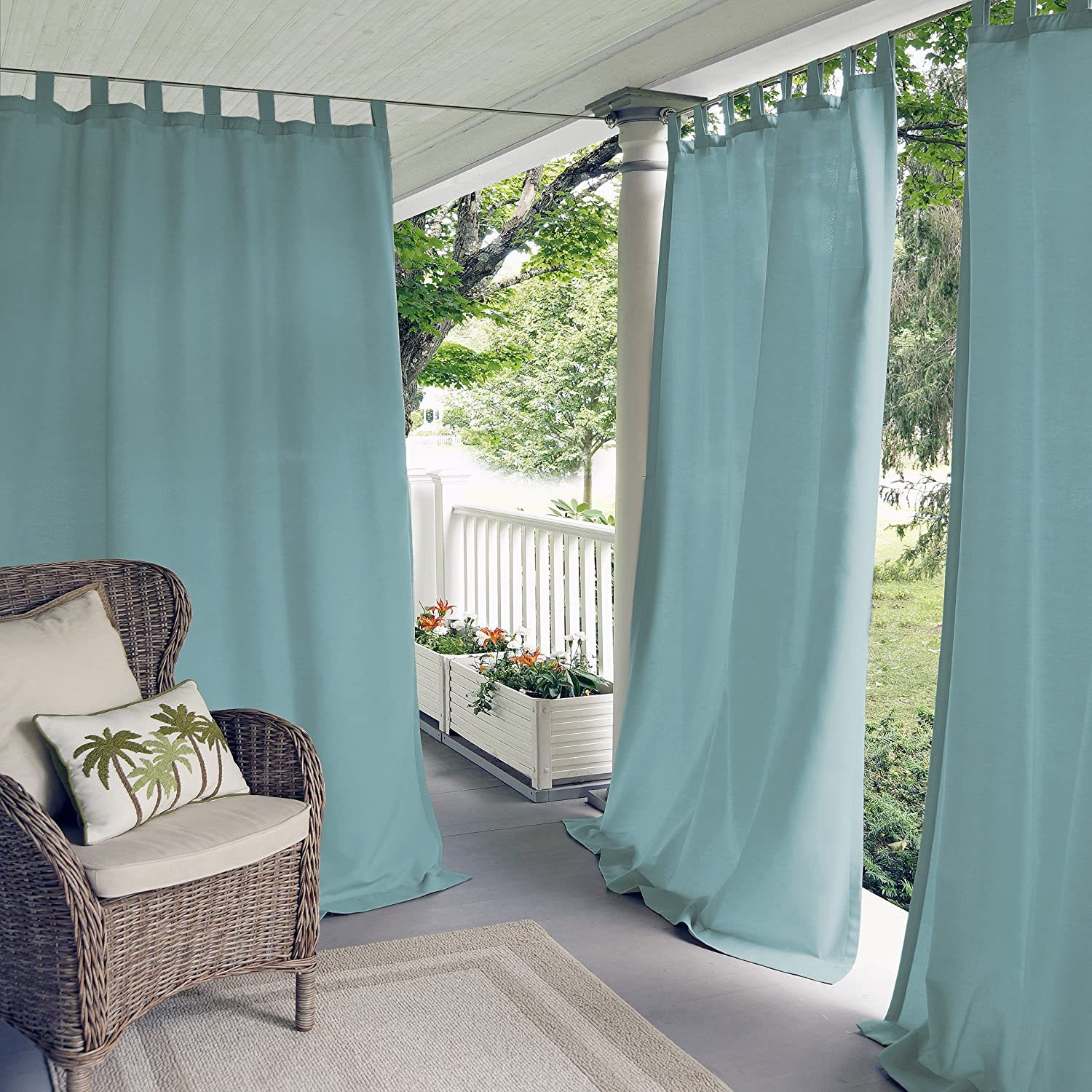 "Elrene Home Fashions Matine Indoor/Outdoor Solid Tab Top Single Panel Window Curtain Drape, 52""x95"" (1, Mineral Blue"