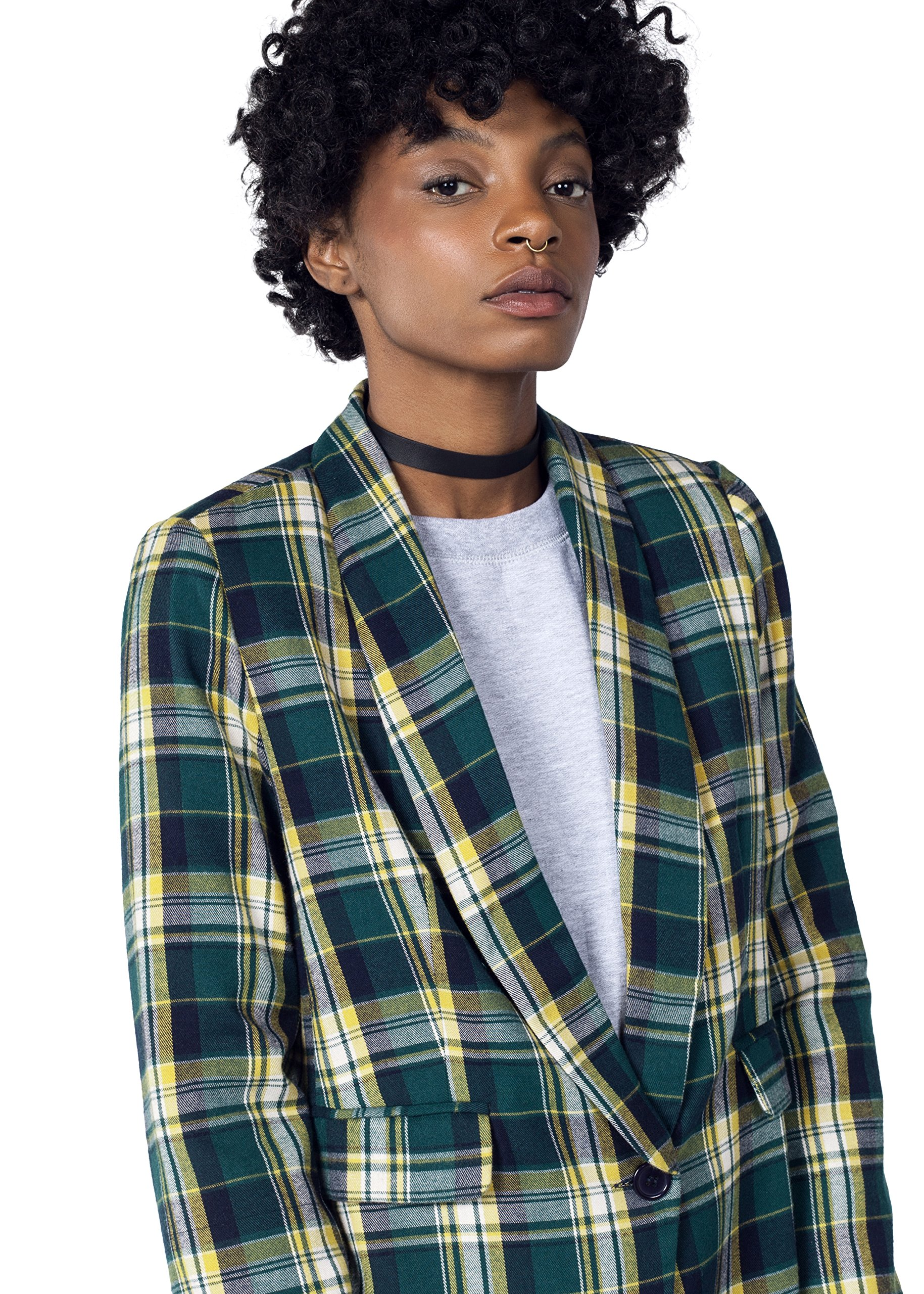The Styles Plaid Tux Blazer,Green/Yellow,Small