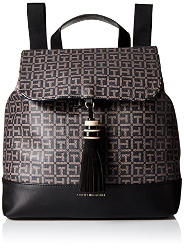 Tommy Hilfiger Womens Grace Logo Backpack, Black/Pepper